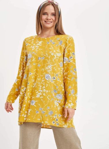 DeFacto Çiçekli Uzun Kollu Tunik Sarı